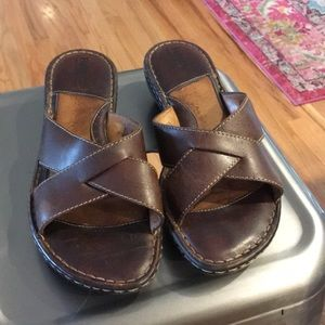 Born Brown Leather Slide Sandals